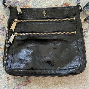 Cole haan patent leather bag with zipper detail